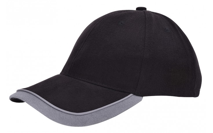 Double peak cap zwart